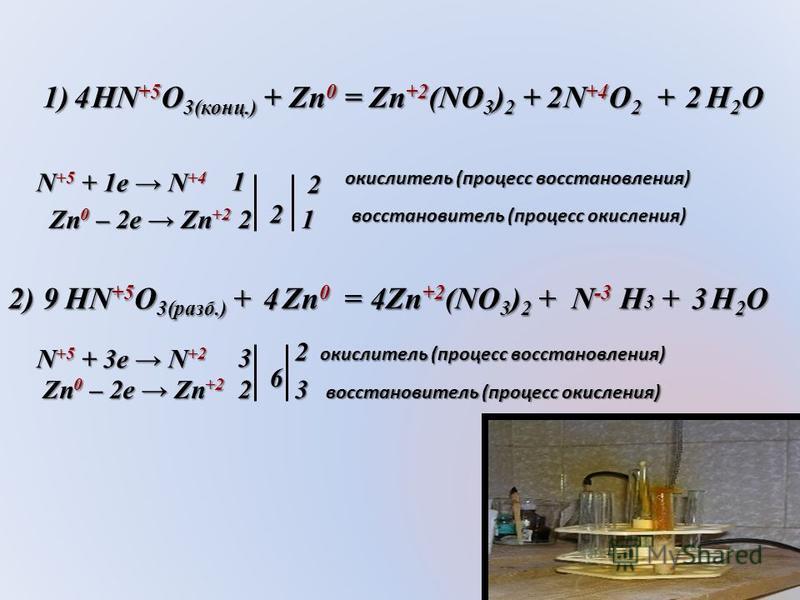 1) HN +5 O 3(конц.) + Cu 0 = Cu +2 (NO 3 ) 2 + N +4 O 2 + H 2 O 22 22 2 N +5 + 1e N +4 Cu 0 – 2e Cu +2 2) HN +5 O 3(разб.) + Cu 0 = Cu +2 (NO 3 ) 2 + N +2 O + H 2 O 33 42 8 N +5 + 3e N +2 Cu 0 – 2e Cu +2 окислитель (процесс восстановления) Восстанови