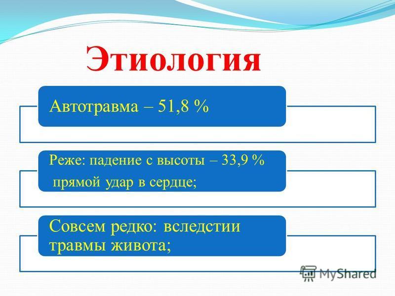Этиология Автотравма – 51,8 % Реже: падение с высоты – 33,9 % прямой удар в сердце; Совсем редко: вследствие травмы живота;