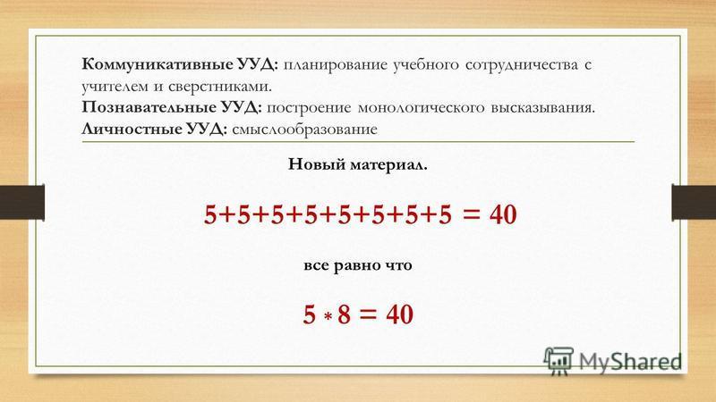Коммуникативные УУД: планирование учебного сотрудничества с учителем и сверстниками. Познавательные УУД: построение монологического высказывания. Личностные УУД: смыслообразование Новый материал. 5+5+5+5+5+5+5+5 = 40 все равно что 5 * 8 = 40