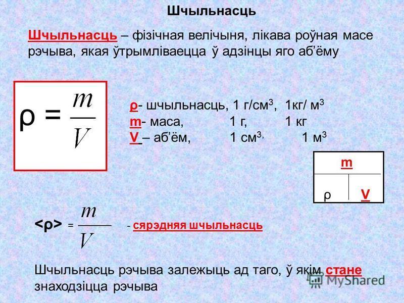 ρ =ρ = ρ- шчыльнасць, 1 г/см 3, 1кг/ м 3 m- маса, 1 г, 1 кг V – абём, 1 см 3, 1 м 3 m ρ V Шчыльнасць Шчыльнасць – фізічная велічыня, лікава роўная масе рэчыва, якая ўтрымліваецца ў адзінцы яго абёму = - сярэдняя шчыльнасць Шчыльнасць рэчыва залежыць