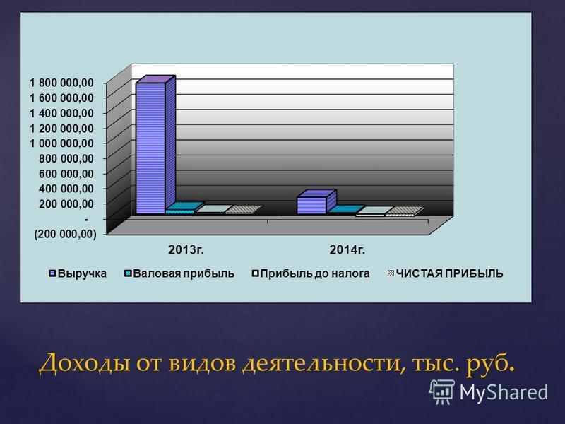 Доходы от видов деятельности, тыс. руб.