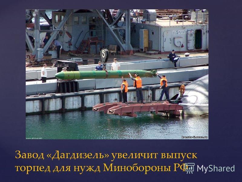 Завод «Дагдизель» увеличит выпуск торпед для нужд Минобороны РФ