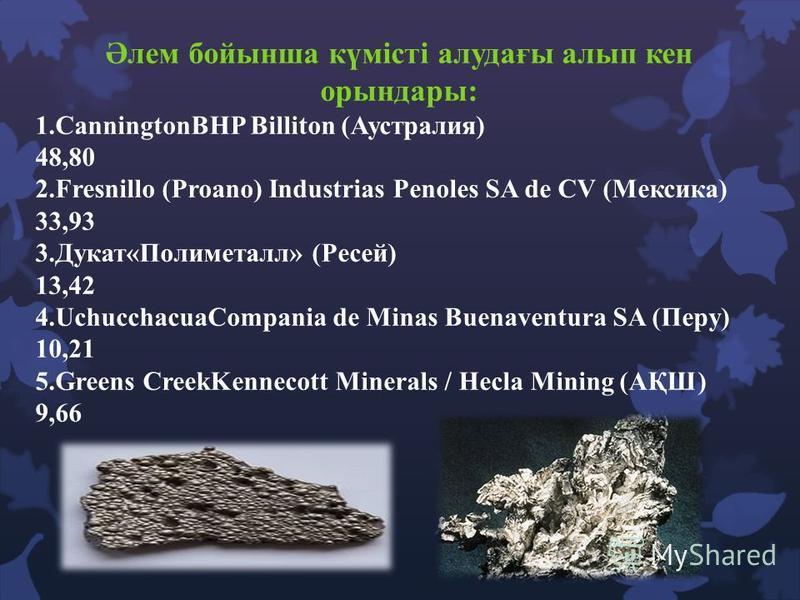 Әлем бойынша күмісті алудағы алып кен орындары: 1.CanningtonBHP Billiton (Аустралия) 48,80 2.Fresnillo (Proano) Industrias Penoles SA de CV (Мексика) 33,93 3.Дукат«Полиметалл» (Ресей) 13,42 4.UchucchacuaCompania de Minas Buenaventura SA (Перу) 10,21