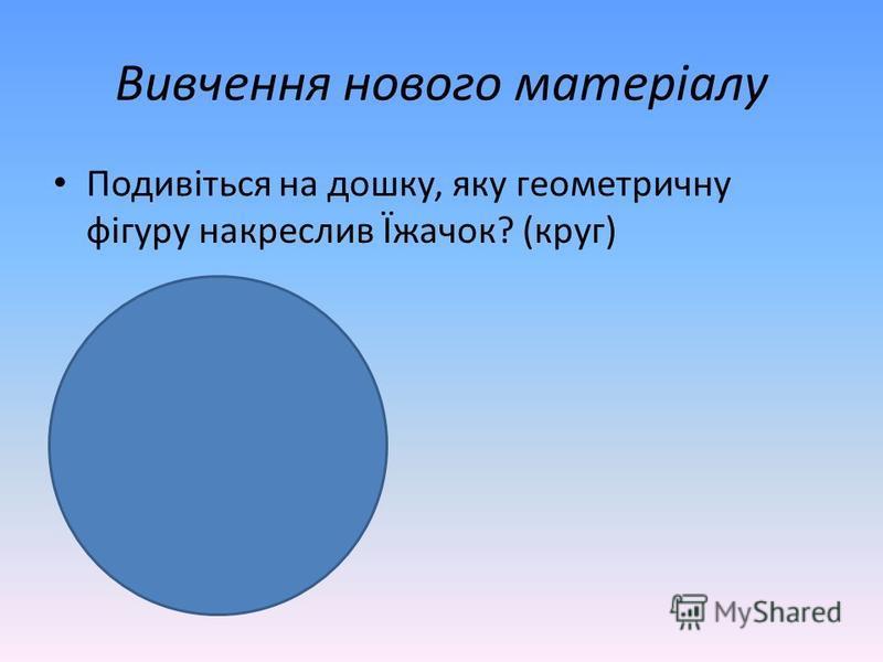 Вивчення нового матеріалу Подивіться на дошку, яку геометричну фігуру накреслив Їжачок? (круг)