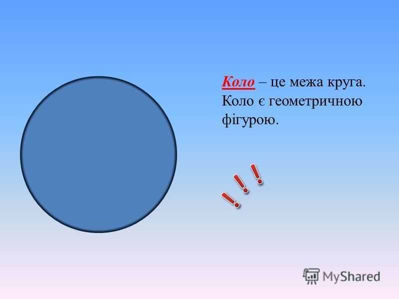 Коло – це межа круга. Коло є геометричною фігурою.