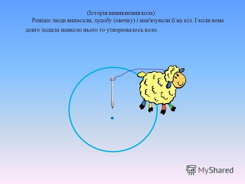 (Історія виникнення кола) Раніше люди випасали, худобу (овечку) і нав'язували її на кіл. І коли вона довго ходила навколо нього то утворювалось коло.