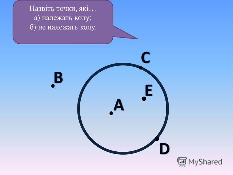 Назвіть точки, які… а) належать колу; б) не належать колу.