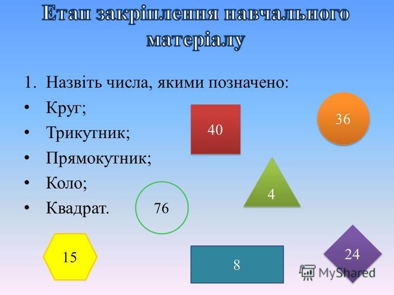 1.Назвіть числа, якими позначено: Круг; Трикутник; Прямокутник; Коло; Квадрат. 40 76 36 4 4 24 15 8
