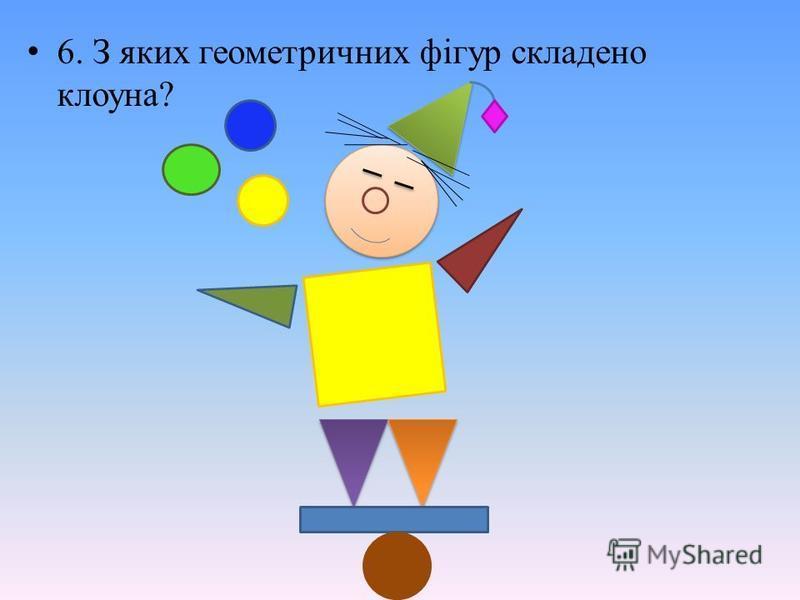 6. З яких геометричних фігур складено клоуна?