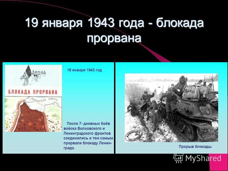 19 января 1943 года - блокада прорвана