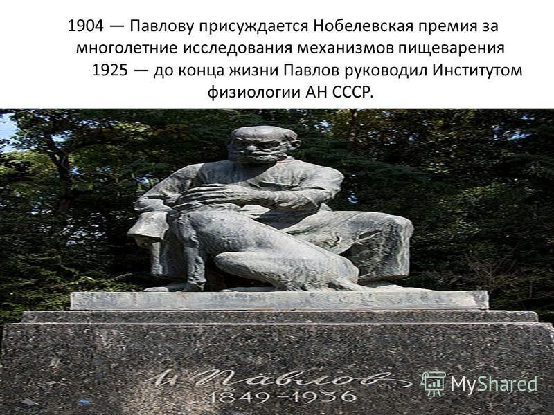 1904 Павлову присуждается Нобелевская премия за многолетние исследования механизмов пищеварения 1925 до конца жизни Павлов руководил Институтом физиологии АН СССР.
