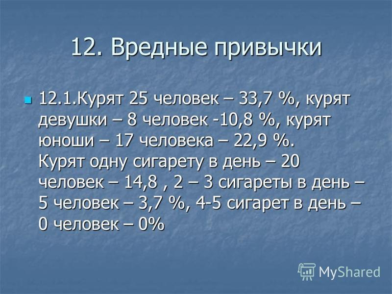 12. Вредные привычки 12.1. Курят 25 человек – 33,7 %, курят девушки – 8 человек -10,8 %, курят юноши – 17 человека – 22,9 %. Курят одну сигарету в день – 20 человек – 14,8, 2 – 3 сигареты в день – 5 человек – 3,7 %, 4-5 сигарет в день – 0 человек – 0