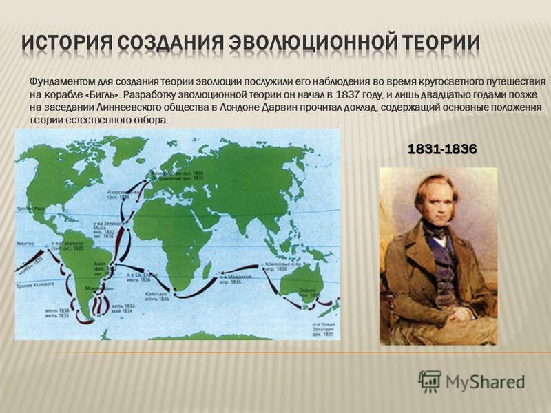 Фундаментом для создания теории эволюции послужили его наблюдения во время кругосветного путешествия на корабле «Бигль». Разработку эволюционной теории он начал в 1837 году, и лишь двадцатью годами позже на заседании Линнеевского общества в Лондоне Д