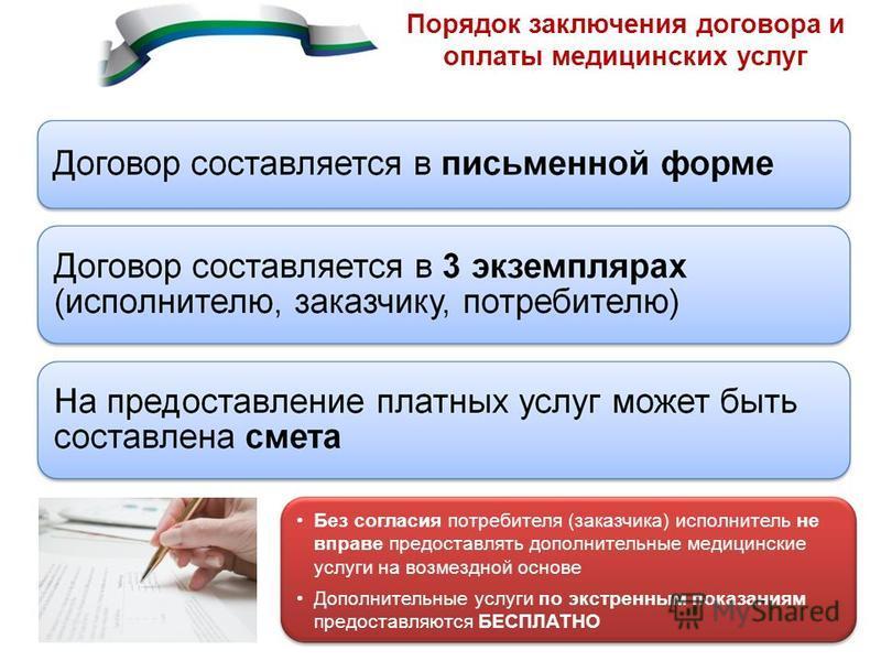 Без согласия потребителя (заказчика) исполнитель не вправе предоставлять дополнительные медицинские услуги на возмездной основе Дополнительные услуги по экстренным показаниям предоставляются БЕСПЛАТНО