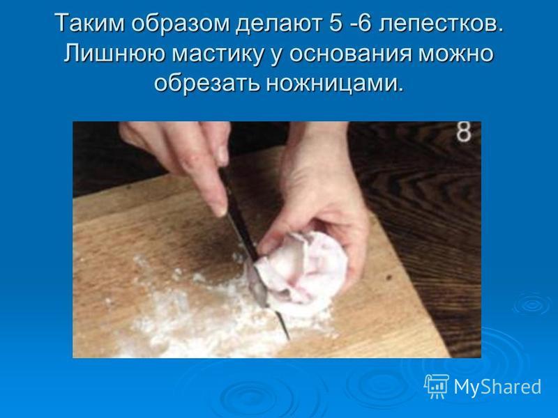 Таким образом делают 5 -6 лепестков. Лишнюю мастику у основания можно обрезать ножницами.