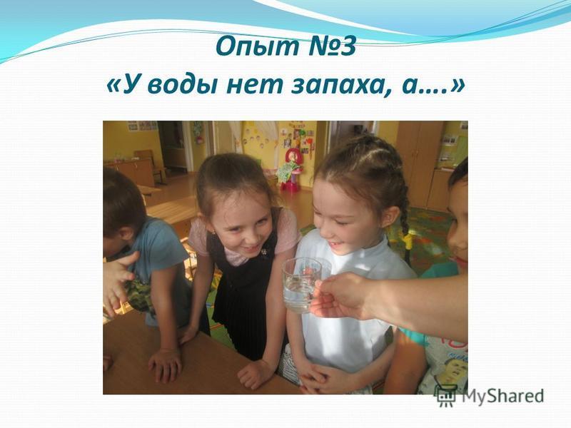 Опыт 3 «У воды нет запаха, а….»