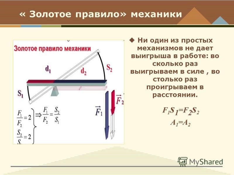 « Золотое правило» механики Ни один из простых механизмов не дает выигрыша в работе: во сколько раз выигрываем в силе, во столько раз проигрываем в расстоянии. F 1 s 1 =F 2 s 2 А 1 =А 2
