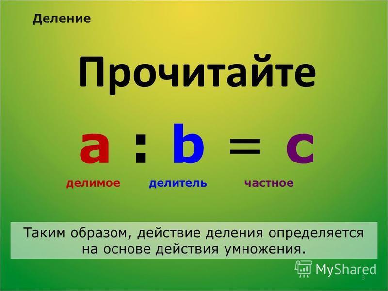Прочитайте а : b = с делимое делитель частное Таким образом, действие деления определяется на основе действия умножения. Деление 3