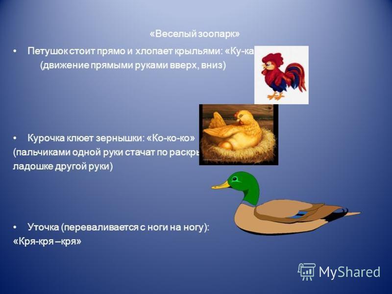 «Веселый зоопарк» Петушок стоит прямо и хлопает крыльями: «Ку-ка-ре-ку» (движение прямыми руками вверх, вниз) Курочка клюет зернышки: «Ко-ко-ко» (пальчиками одной руки стучат по раскрытой ладошке другой руки) Уточка (переваливается с ноги на ногу): «