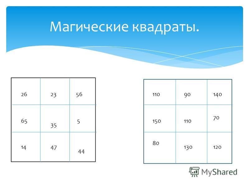 Магические квадраты. 26 35 44 56 5 23 4714 65 11090140 150110 70 80 130120