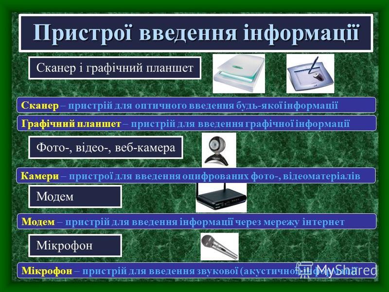 Сканер і графічний планшет Пристрої введення інформації Сканер – пристрій для оптичного введення будь-якої інформації Фото-, відео-, веб-камера Модем Камери – пристрої для введення оцифрованих фото-, відеоматеріалів Модем – пристрій для введення інфо