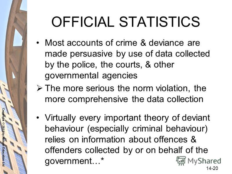Copyright © 2011 by Nelson Education Ltd 14-20 OFFICIAL STATISTICS Most accounts of crime & deviance are made persuasive by use of data collected by the police, the courts, & other governmental agencies The more serious the norm violation, the more c