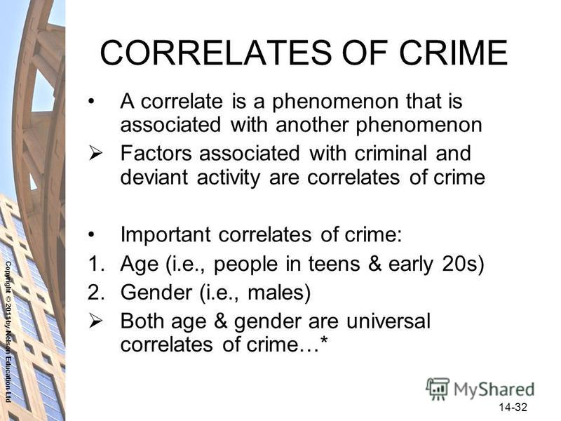 Copyright © 2011 by Nelson Education Ltd 14-32 CORRELATES OF CRIME A correlate is a phenomenon that is associated with another phenomenon Factors associated with criminal and deviant activity are correlates of crime Important correlates of crime: 1.A