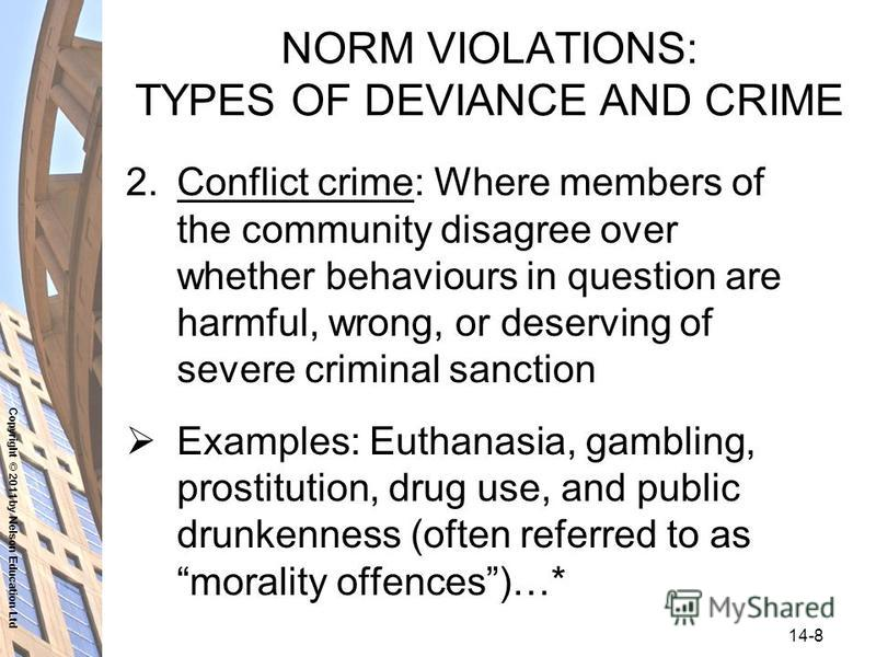 Copyright © 2011 by Nelson Education Ltd 14-8 NORM VIOLATIONS: TYPES OF DEVIANCE AND CRIME 2.Conflict crime: Where members of the community disagree over whether behaviours in question are harmful, wrong, or deserving of severe criminal sanction Exam