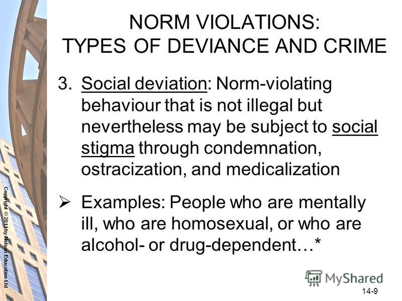 Copyright © 2011 by Nelson Education Ltd 14-9 NORM VIOLATIONS: TYPES OF DEVIANCE AND CRIME 3.Social deviation: Norm-violating behaviour that is not illegal but nevertheless may be subject to social stigma through condemnation, ostracization, and medi