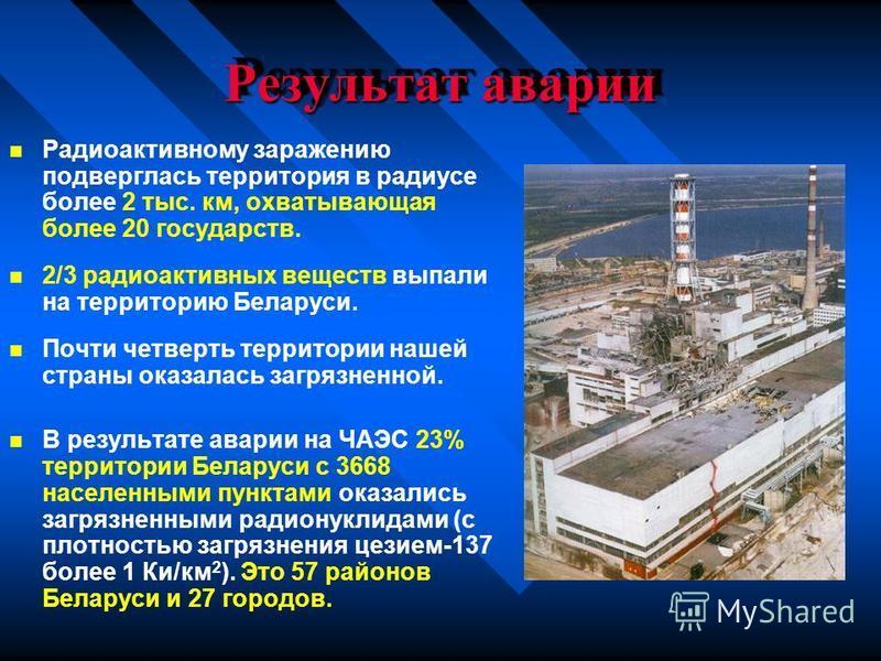 Результат аварии Радиоактивному заражению подверглась территория в радиусе более 2 тыс. км, охватывающая более 20 государств. 2/3 радиоактивных веществ выпали на территорию Беларуси. Почти четверть территории нашей страны оказалась загрязненной. В ре