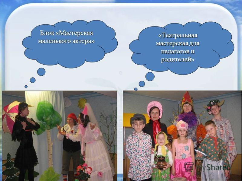Блок «Мастерская маленького актера» «Театральная мастерская для педагогов и родителей «Театральная мастерская для педагогов и родителей»