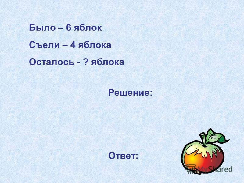 Было – 6 яблок Съели – 4 яблока Осталось - ? яблока Решение: Ответ: