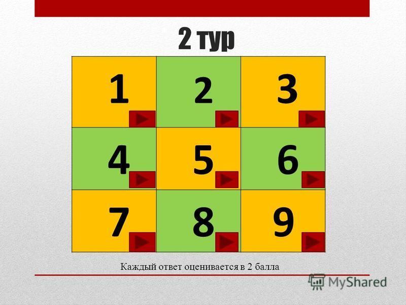 2 тур 1 2 3 4 5 6 7 8 9 Каждый ответ оценивается в 2 балла