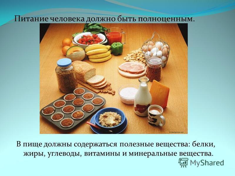 Питание человека должно быть полноценным. В пище должны содержаться полезные вещества: белки, жиры, углеводы, витамины и минеральные вещества.