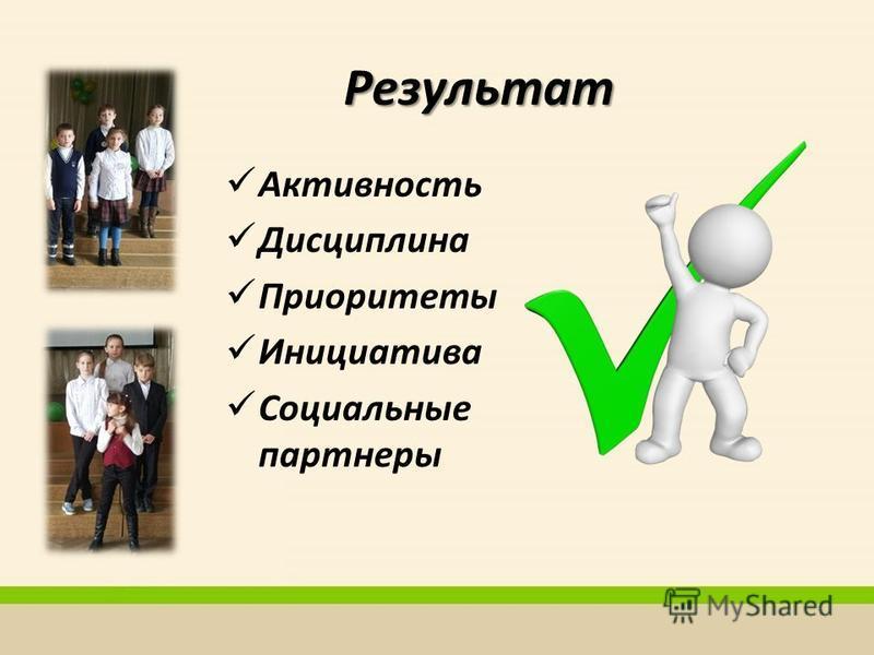 Результат Активность Дисциплина Приоритеты Инициатива Социальные партнеры