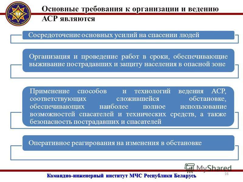 Командно-инженерный институт МЧС Республики Беларусь 16 Сосредоточение основных усилий на спасении людей Организация и проведение работ в сроки, обеспечивающие выживание пострадавших и защиту населения в опасной зоне Применение способов и технологий