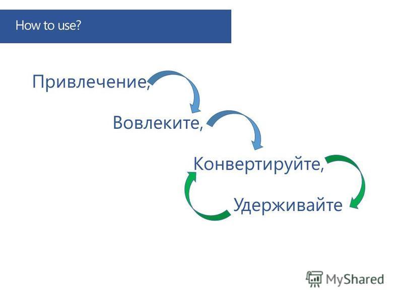 How to use? Привлечение, Вовлеките, Конвертируйте, Удерживайте