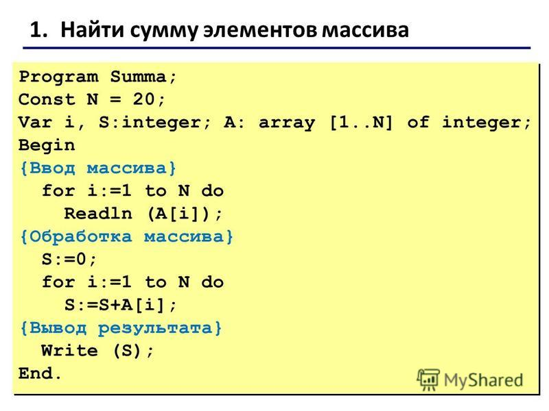 1. Найти сумму элементов массива Program Summa; Const N = 20; Var i, S:integer; A: array [1..N] of integer; Begin {Ввод массива} for i:=1 to N do Readln (A[i]); {Обработка массива} S:=0; for i:=1 to N do S:=S+A[i]; {Вывод результата} Write (S); End.