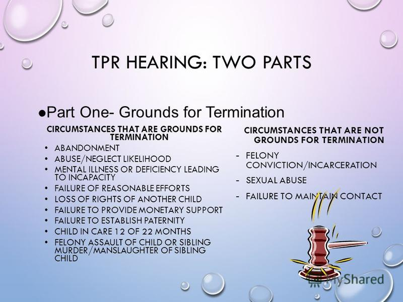 TPR HEARING: TWO PARTS CIRCUMSTANCES THAT ARE GROUNDS FOR TERMINATION ABANDONMENT ABUSE/NEGLECT LIKELIHOOD MENTAL ILLNESS OR DEFICIENCY LEADING TO INCAPACITY FAILURE OF REASONABLE EFFORTS LOSS OF RIGHTS OF ANOTHER CHILD FAILURE TO PROVIDE MONETARY SU