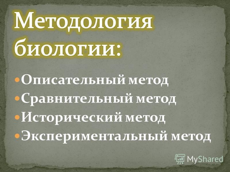 Описательный метод Сравнительный метод Исторический метод Экспериментальный метод