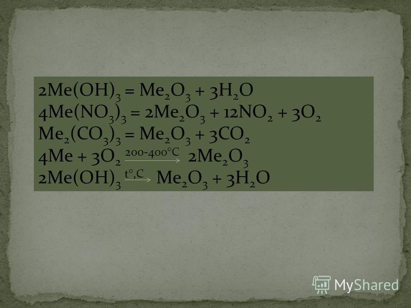 2Ме(ОН) 3 = Ме 2 О 3 + 3Н 2 О 4Ме(NO 3 ) 3 = 2Me 2 O 3 + 12NO 2 + 3O 2 Mе 2 (СО 3 ) 3 = Ме 2 О 3 + 3СО 2 4Ме + 3O 2 200-400°С 2Ме 2 O 3 2Ме(ОН) 3 t°,C Me 2 O 3 + 3H 2 O