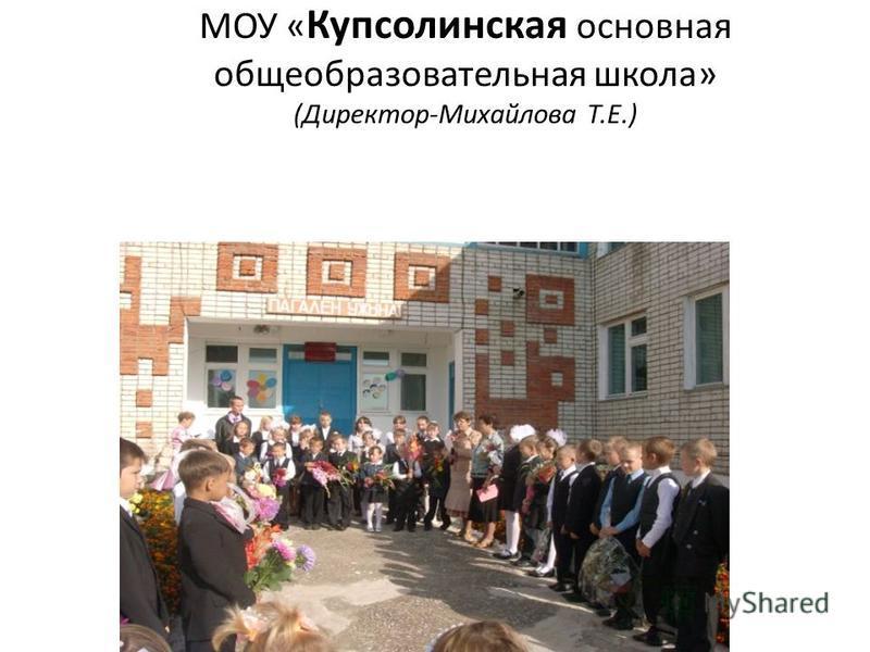 МОУ « Купсолинская основная общеобразовательная школа» (Директор-Михайлова Т.Е.)