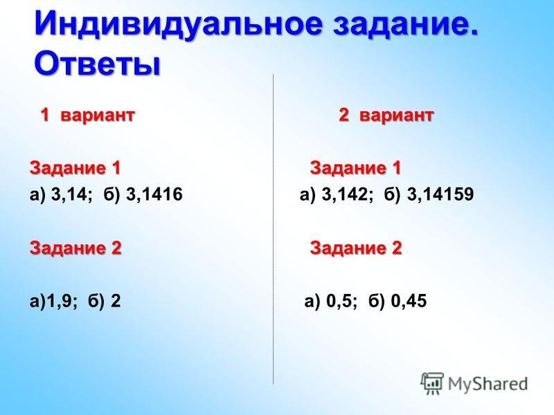 Индивидуальное задание. Ответы 1 вариант 2 вариант 1 вариант 2 вариант Задание 1 Задание 1 а) 3,14; б) 3,1416 а) 3,142; б) 3,14159 Задание 2 Задание 2 а)1,9; б) 2 а) 0,5; б) 0,45