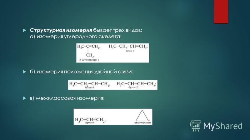 Структурная изомерия бывает трех видов: а) изомерия углеродного скелета: б) изомерия положания двойной связи: в) межклассовая изомерия: