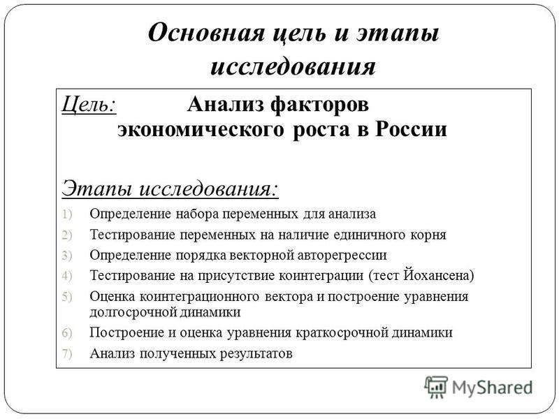 Основная цель и этапы исследования Цель: Анализ факторов экономического роста в России Этапы исследования: 1) Определение набора переменных для анализа 2) Тестирование переменных на наличие единичного корня 3) Определение порядка векторной авторегрес