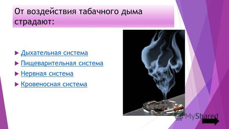 От воздействия табачного дыма страдают: Дыхательная система Пищеварительная система Нервная система Кровеносная система