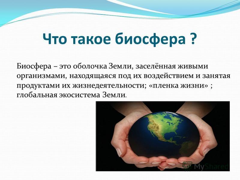 Что такое биосфера ? Биосфера – это оболочка Земли, заселённая живыми организмами, находящаяся под их воздействием и занятая продуктами их жизнедеятельности; «пленка жизни» ; глобальная экосистема Земли.