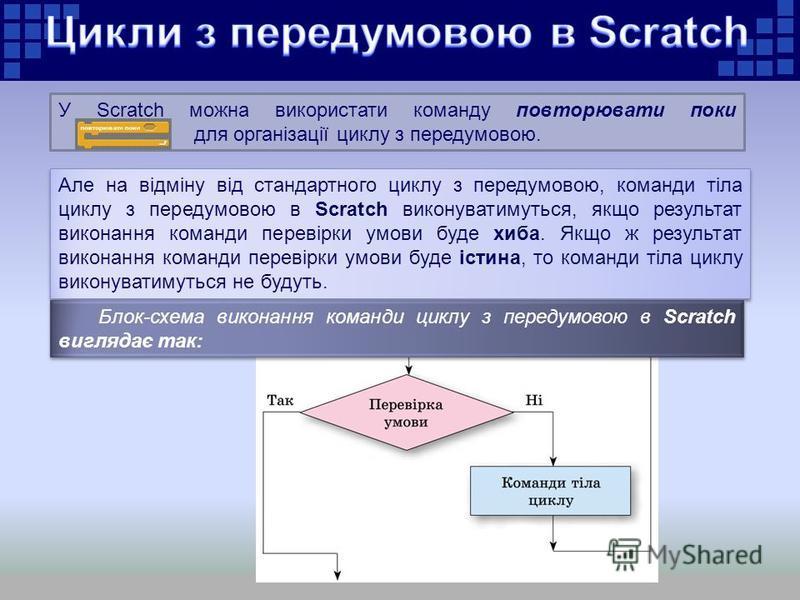 У Scratch можна використати команду повторювати поки для організації циклу з передумовою. Але на відміну від стандартного циклу з передумовою, команди тіла циклу з передумовою в Scratch виконуватимуться, якщо результат виконання команди перевірки умо
