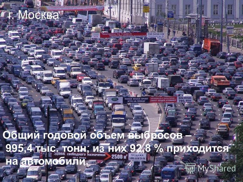 г. Москва Общий годовой объем выбросов – 995,4 тыс. тонн, из них 92,8 % приходится на автомобили.