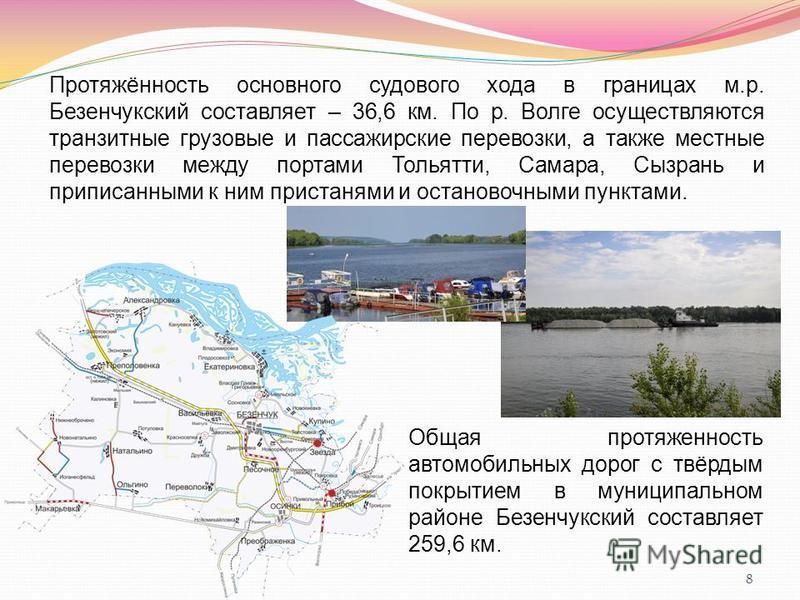 8 Протяжённость основного судового хода в границах м.р. Безенчукский составляет – 36,6 км. По р. Волге осуществляются транзитные грузовые и пассажирские перевозки, а также местные перевозки между портами Тольятти, Самара, Сызрань и приписанными к ним